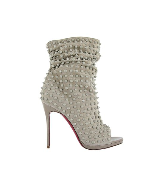 <p>Christian Louboutin Guerilla suede heels in stone, £1,235</p>