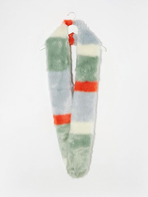 "<p><a href=""http://www.asos.com/asos/asos-bright-multi-stripe-fur-scarf/prod/pgeproduct.aspx?iid=5009641&clr=Multi&SearchQuery=fur+scarf&pgesize=37&pge=0&totalstyles=37&gridsize=3&gridrow=9&gridcolumn=1"" target=""_blank"">ASOS scarf</a>, £30</p>"