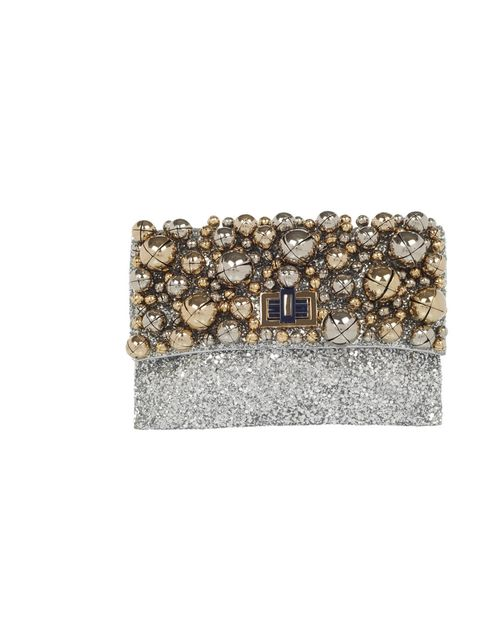 "<p>Anya Hindmarch 'Valorie Bells' clutch, £895</p><p><a href=""http://www.anyahindmarch.com/prod/Clutch/Handbags/Valorie_Bells_Glitter_Fabric/44192/"">BUY NOW </a></p>"