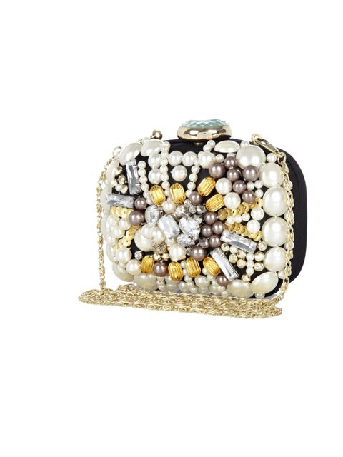 "<p><a href=""http://www.riverisland.com/women/bags--purses/clutch-bags/Black-embellished-box-clutch-bag-627260"">River Island</a> embellished box bag, £30</p>"
