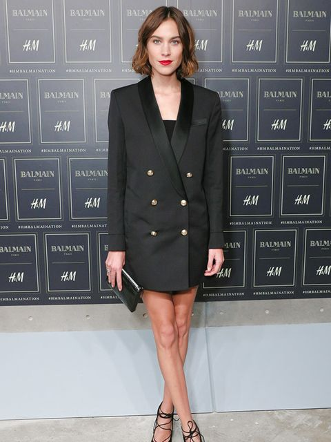 Alexa Chung attends the H&M x Balmain show in New york, October 2015.