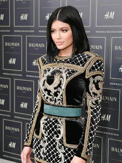 Kylie jenner attends the H&M x Balmain show in New york, October 2015.