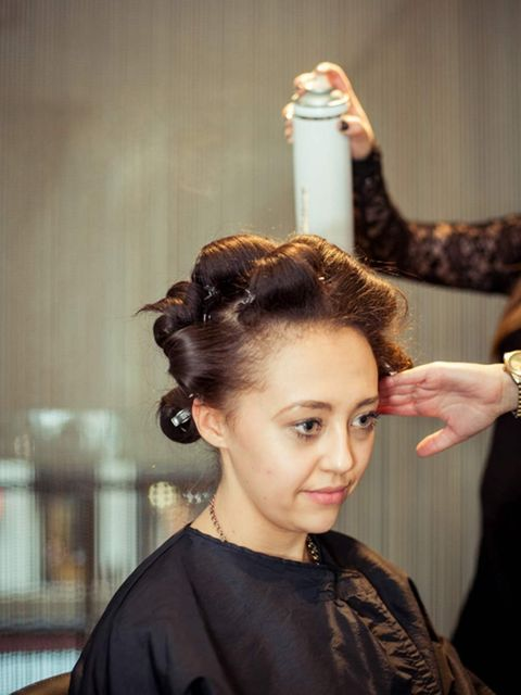 &lt&#x3B;p&gt&#x3B;Blow-dry the hair smooth in section, clipping each piece into a curl as you go. This will add volume and a soft wave which will help when braiding the hair later on. &lt&#x3B;/p&gt&#x3B;&lt&#x3B;p&gt&#x3B;Spritz with hairspray to help the curls hold their shape [ELL