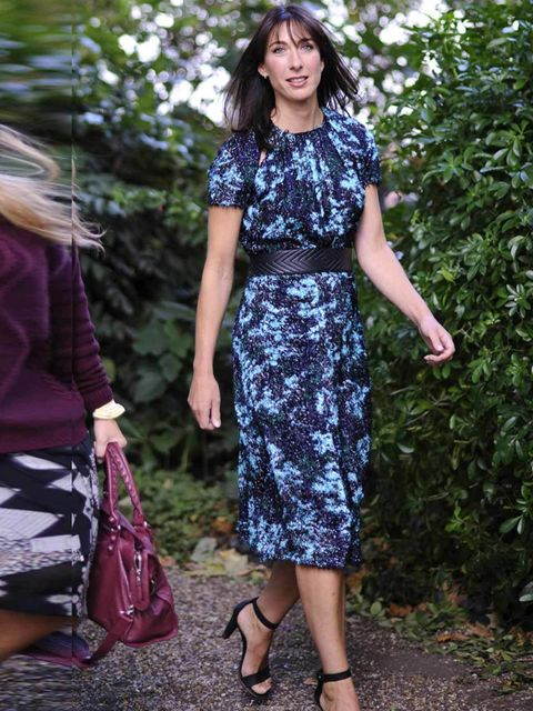 <p>Samantha Cameron wearing Michael Van Der Ham ahead of the Erdem show during London Fashion Week, Spring/Summer 2013</p>