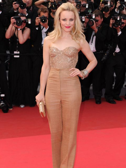 "<p>Rachel McAdams is wearing a <a href=""http://www.elleuk.com/catwalk/collections/monique-lhullier/spring-summer-2011"">Monique Lhuillier</a> brown high waist trousers and strapless top with a sweetheart neckline for the 'Sleeping Beauty' film premiere at"