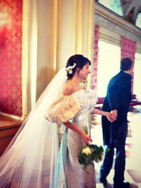 "<p>Caroline Sieber wears a <a href=""http://www.elleuk.com/catwalk/designer-a-z/chanel/spring-summer-2014"">Chanel</a> wedding dress, July 2013.</p><p><em><a href=""http://www.elleuk.com/style/occasions/wedding-dress-inspiration-from-spring-summer-2014-fashi"