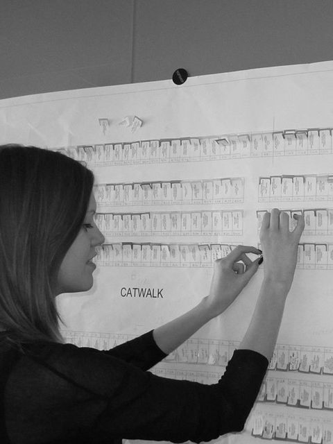 <p>Prepping the floor plan for the S/S '12 Unique show.</p>