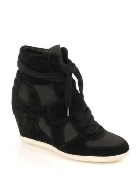 "<p>Wedge trainers are the new must-have footwear amongst the fashion pack, so get in on the act early with this on-trend pair by ASH… <a href=""http://www.ashfootwear.co.uk/womens-c1/wedges-c22/ash-biba-low-wedge-black-suede-nylon-trainer-p204"">ASH</a> sue"