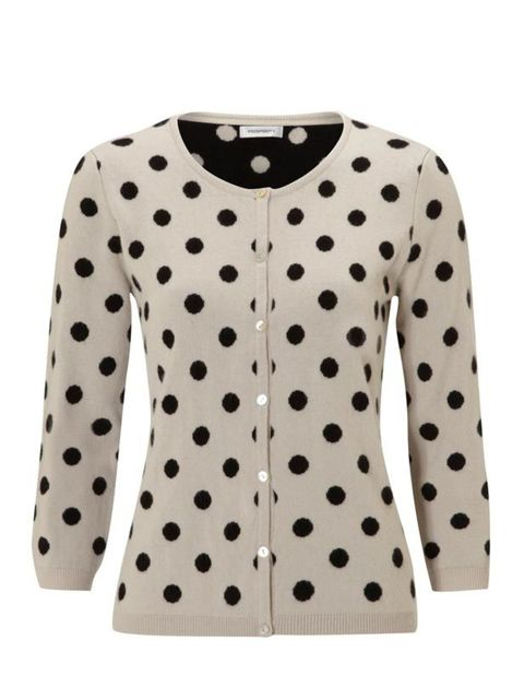 "<p>Clements Ribeiro for John Lewis polka dot cardigan, £89, at <a href=""http://www.johnlewis.com/267460/Product.aspx"">John Lewis</a></p>"