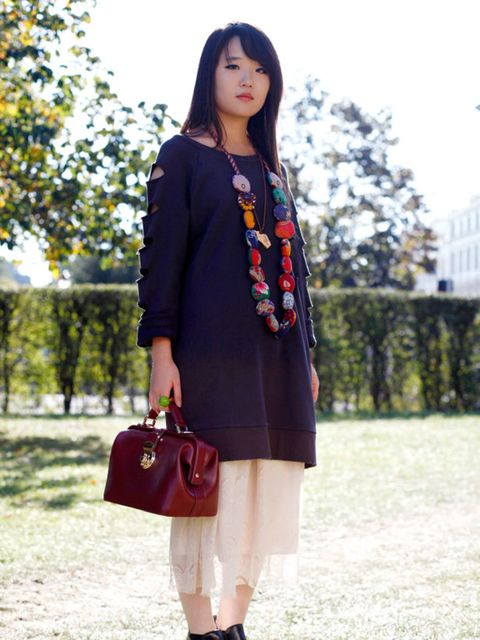 <p>Photo by Silvia Olsen @ Anthea SimmsCornelia Duan, 21, Fashion Designer. Dress from Korea, bag and shirt from Tokyo, Office boots, necklace from Brick Lane.</p>