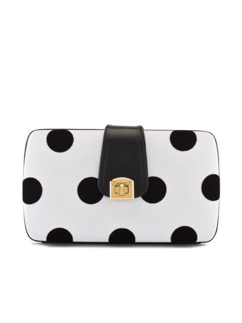 <p>Sergio Rossi polka dot clutch, £750, for stockists call 0207 811 5950</p>