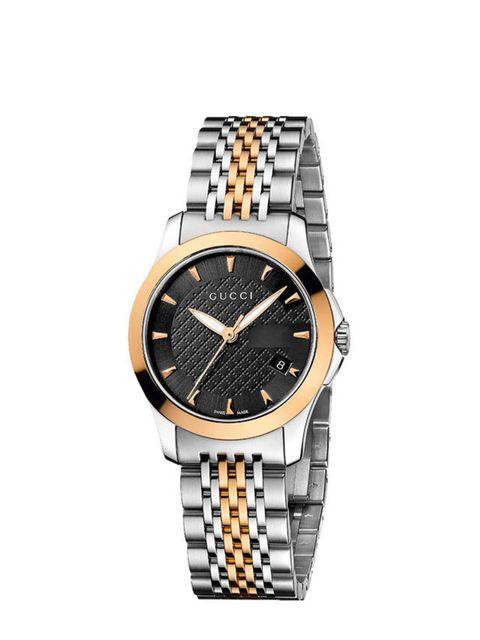 <p>Gucci ladies' two tone bracelet watch, £595, at Ernest Jones</p>