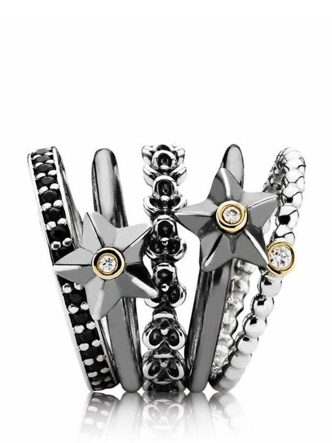 "<p>Add a touch of individuality to your look with Pandora's interchangeable, stackable rings... <a href=""http://www.pandora.net/en-gb/"">Pandora</a> silver ring stack, from £30 to £145</p>"