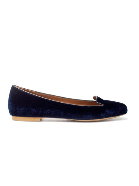 "<p><a href=""http://www.zara.com/webapp/wcs/stores/servlet/product/uk/en/zara-W2011/118149/449538/VELVET%2BMOCCASIN"">Zara</a> navy velvet smoking slippers, £39.99</p>"