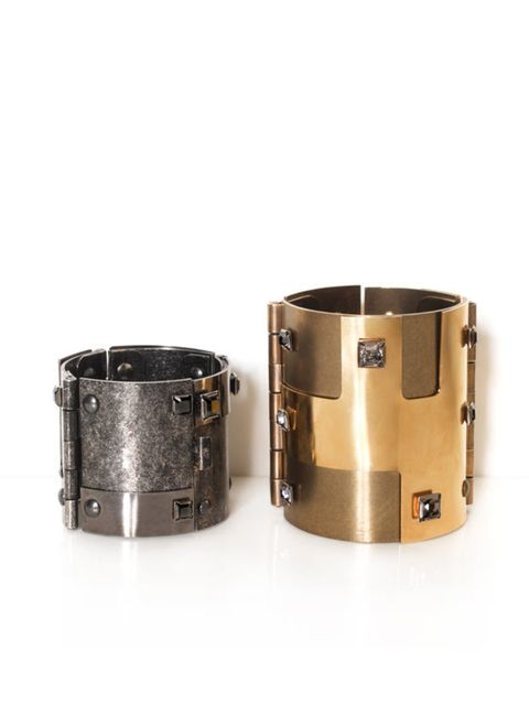 <p>Lanvin cuffs, from £510, for stockist calls 0207 491 1839</p>