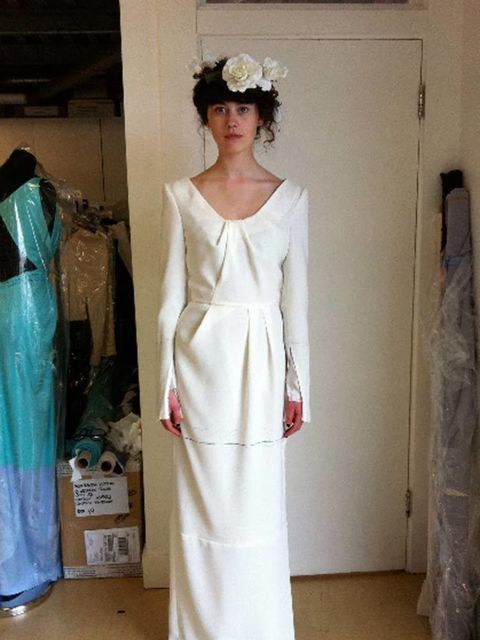 "<p>Studio Prep: From <a href=""http://www.elleuk.com/news/fashion-news/london-latest-roksanda-illincic/(gid)/806303"">Roksanda Ilincic</a>. 'Our adorable intern Holly looking stunning in a toile fitting. Her look today has us dreaming of midsummer weddings."