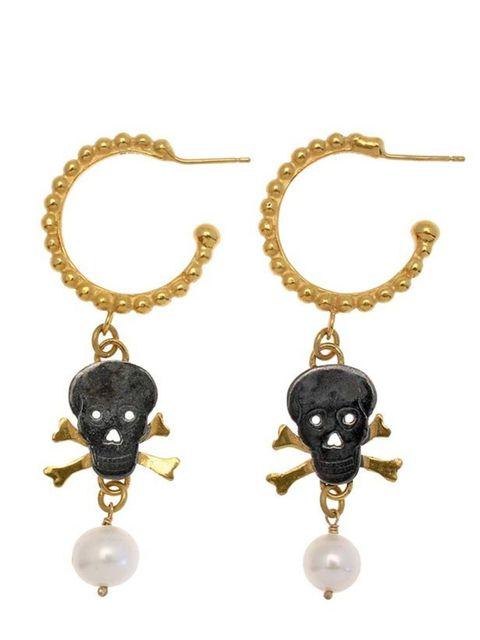 "<p><a href=""http://www.damsonjewellery.co.uk/designers/ana-verdun/skull-and-crossbone-pearl-hoops.html"">Damson</a> skull and crossbone earrings, £185</p>"