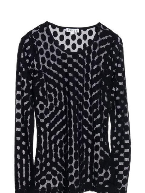 "<p><a href=""http://www.reissonline.com/shop/womens/cottons/dominique/black/"">Reiss</a> sheer polka dot top, £59</p>"