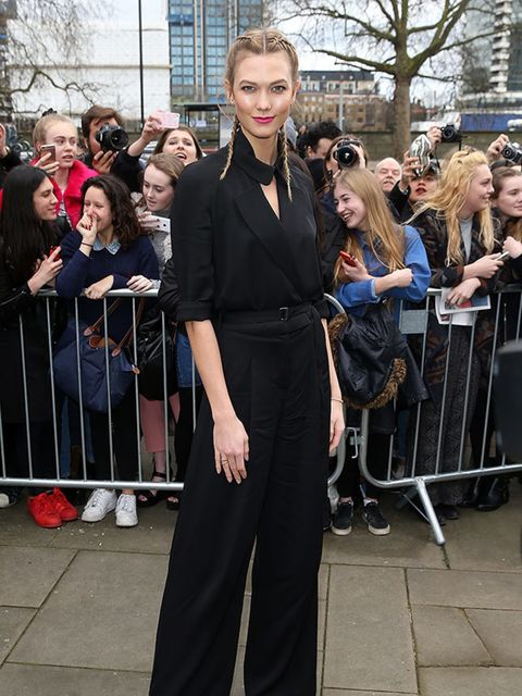 Karlie Kloss attends the Topshop Unique show during London Fashion Week a/w16 in London, February 2016.
