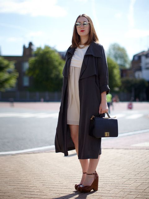 <p>Melissa McKenna wears Mini Market bag and coat, Yvonne Laufer dress, Zara shoes and Urban Outfitters sunglasses</p>