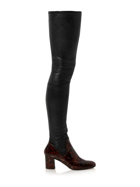 "<p><a href=""https://www.net-a-porter.com/gb/en/product/606079/calvin_klein_collection/miles-matte-and-patent-leather-thigh-boots"" target=""_blank"">£1,750, Calvin Klein Collection</a></p>"