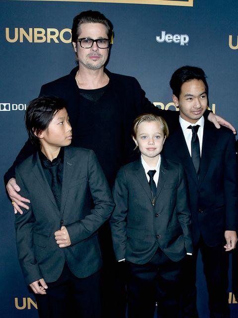 <p>Brad Pitt with Pax Thien Jolie-Pitt, Shiloh Nouvel Jolie-Pitt and Maddox Jolie-Pitt at the premiere of Unbroken, December 2014.</p>