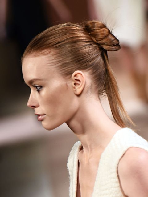 """<p><strong><a href=""""http://www.elleuk.com/catwalk/victoria-beckham/autumn-winter-2015"""">Victoria Beckham</a></strong></p>  <p>The look: Sophisticated looped pony</p>  <p>Hair stylist: <a href=""""http://www.elleuk.com/beauty/the-beauty-experts-you-need-to-kno"""