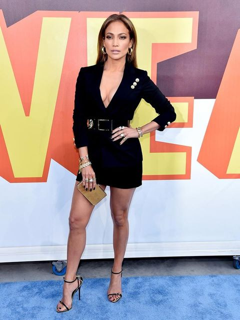 <p>Jennifer Lopez attends the MTV Movie Awards in Los Angeles wearing a dress by Versus Versace.</p>