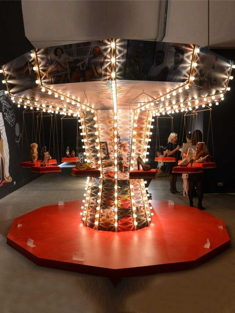 <p>The carousel display at the Louboutin exhibition</p>