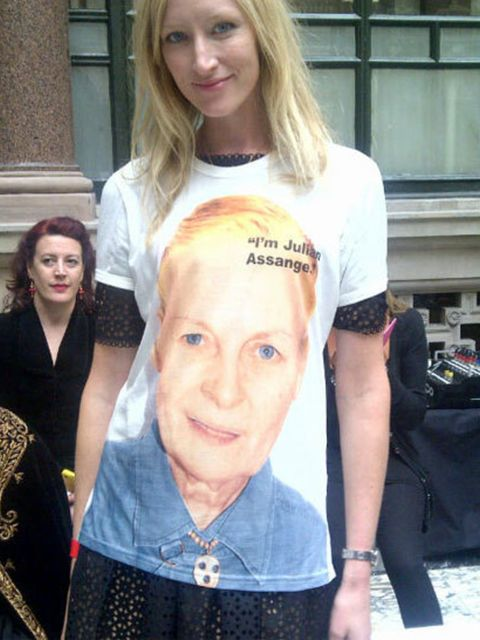 <p>Jade Parfitt wearing her Vivienne Westwood-designed pro-Julian Assange T-shirt at London Fashion Week</p>