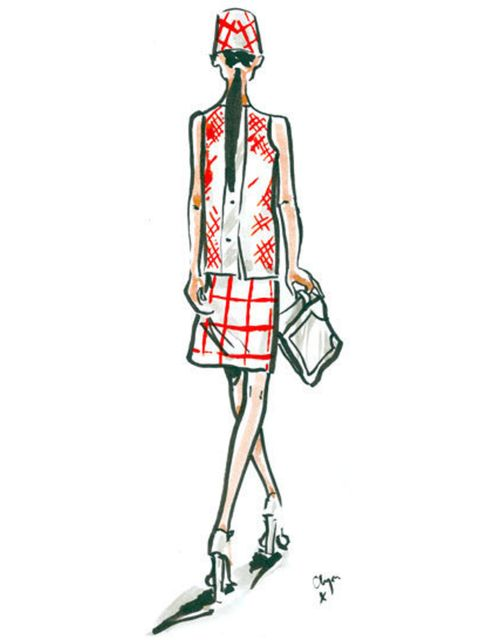<p>A Eudon Choi spring summer 2013 look illustrated for ELLE by Clym Evernden</p>