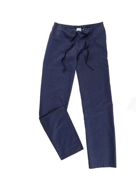 "<p><a href=""http://www.sunspel.com/uk/womens/womens-trousers/wide-leg-trouser-navy-polka.html"">Sunspel</a> polka dot pyjama trousers, £69</p>"