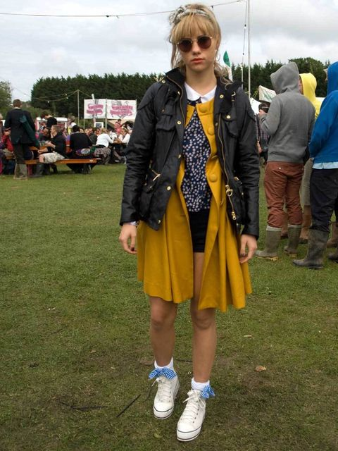 <p>Suki Waterhouse, 20, Model. Barbour jacket, Orla Kiely coat, Maje top, Vintage shorts, Converse shoes, Ray Ban sunglasses.</p><p>Photo by Tim Knowles</p>