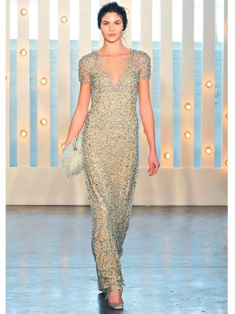 """<p><a href=""""http://www.elleuk.com/catwalk/designer-a-z/jenny-packham/autumn-winter-2014"""">Jenny Packham</a> a/w 2014</p><p>This simple silhouette balances the intricate working of its crystal embellishment.</p><p><a href=""""http://www.elleuk.com/style/weddin"""