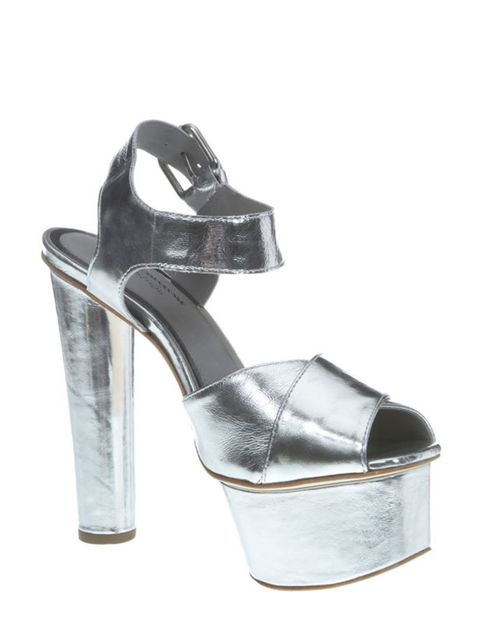 <p>Silver shoes have been on our wish list for a long time. And now that party season is almost upon, it's the perfect opportunity to invest in a dancefloor-worthy pair… Topshop silver platform sandals, £110, for stockists call 0845 121 4519</p>