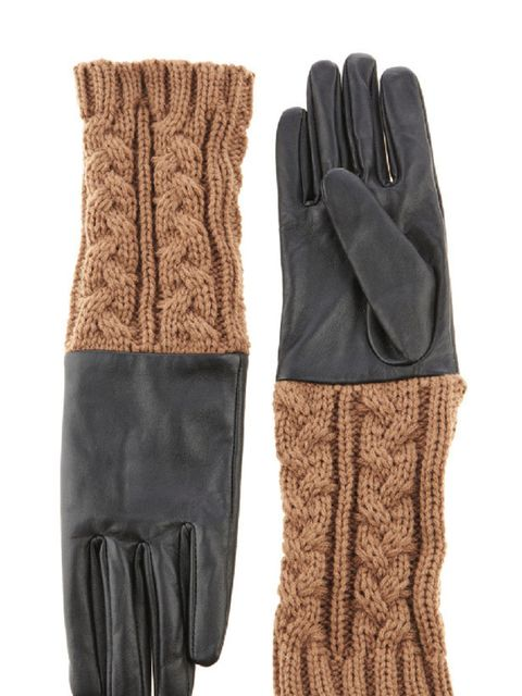 "<p><a href=""http://www.warehouse.co.uk///warehouse/fcp-product/305978"">Warehouse</a> cable knit and leather gloves, £32</p>"