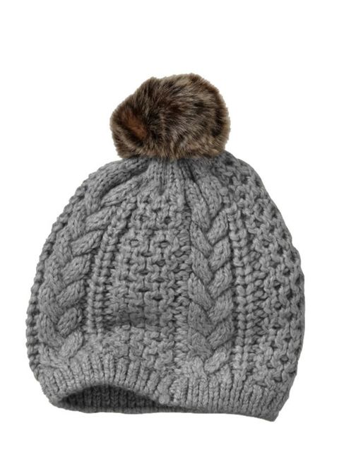 "<p><a href=""http://www.gap.eu/browse/category.do?cid=60049"">Gap</a> cable knit bobble hat, £15.95</p>"