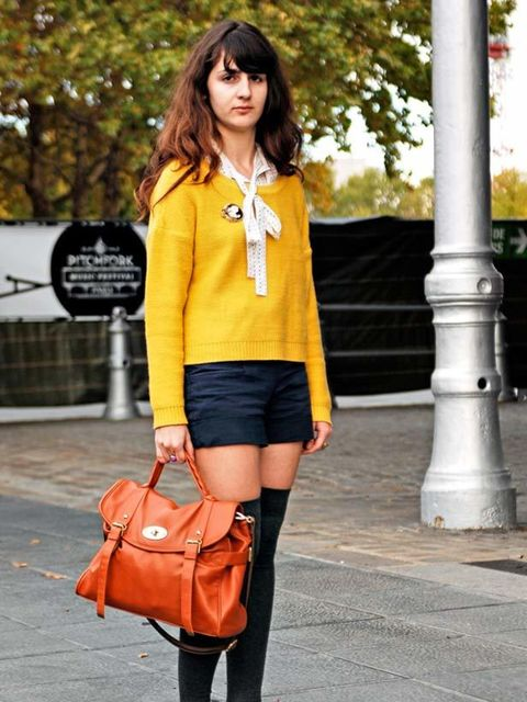 <p>Edwige Grivet, Student. H&M sweater and shorts, Andre shoes, vintage top and accessories, Claire's ring, Mulberry bag.Photo by Nicolas Heron.</p>