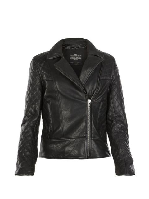 "<p><a href=""http://www.allsaints.com/women/leather_jackets/allsaints-rally-jacket/?colour=5&category=651"">All Saints</a> 'Rally' leather jacket, £395</p>"