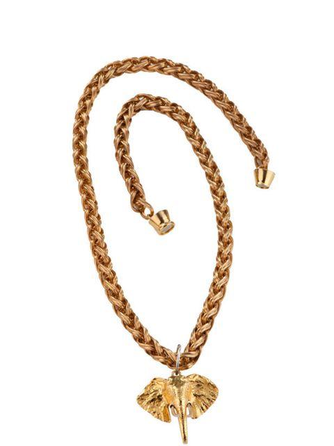 "<p><a href=""http://www.bexrox.com/product/elephant-vintage-necklace"">Bex Rox</a> elephant necklace, £388</p>"