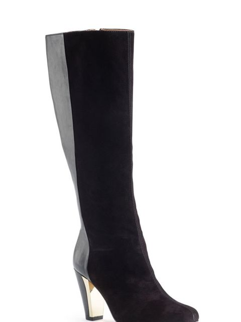 "<p><a href=""http://www.clarks.co.uk/find/department-is-women/producttype-is-boots/product-is-20347697/pgs-is-80"">Clarks</a> black suede and metallic heel knee high boots, £140</p>"
