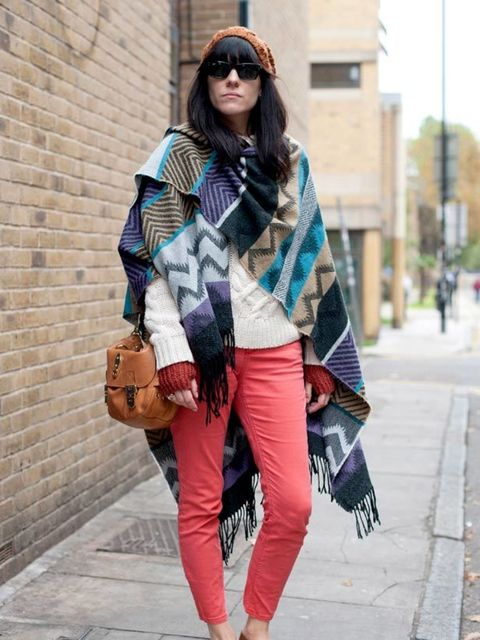 <p>Photo by Kirstin SinclairStephanie, 27, Marketing Manager. Vintage jumper, Dorothy Perkins, Urban Outfitters shoes and scarf, Mulberry bag, Ray Ban shades, Asos hat.</p>
