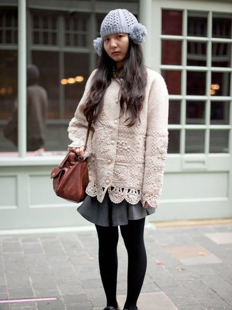 <p>Photo by Kirstin SinclairRan Age, 21, Student. Vintage cardigan and shirt, skirt and hat from China, shoes from Japan, Topshop bag.</p>