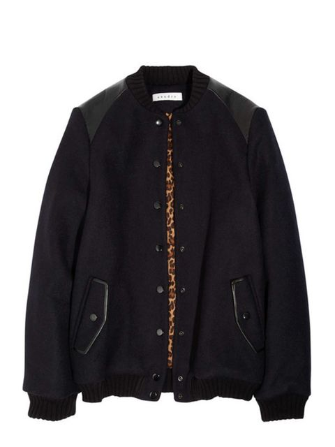 """<p>Sandro wool and leather bomber jacket, £340, at <a href=""""http://www.net-a-porter.com/Shop/Designers/Sandro/All"""">Net-a-Porter </a></p>"""