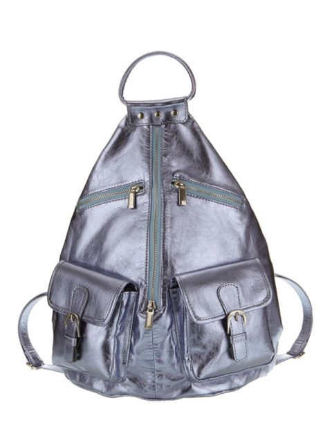 <p>Topshop metallic backpack, £38, for stockists call 0845 121 4519</p>