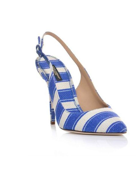"<p>Add a little riviera-chic to your wardrobe with these nautical striped slingbacks.</p><p>Dolce &amp; Gabbana slingbacks, were £350 now £210 at <a href=""http://www.matchesfashion.com/product/149128"">MatchesFashion.com</a></p>"