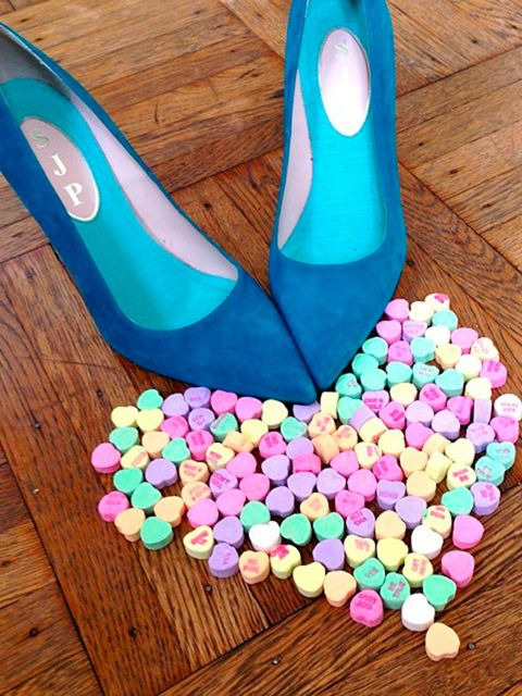 <p>SJP gets arty with her shoes and sweets.</p>