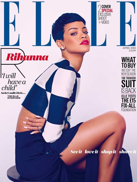 <p>ELLE's April 2013 issue, featuring two Rihanna covers</p>