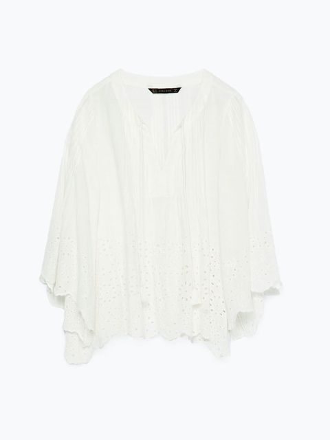 """<p><a href=""""http://www.zara.com/uk/en/woman/tops/view-all/embroidered-blouse-c719021p2614523.html"""" target=""""_blank"""">Zara </a>blouse, £29.99</p>"""