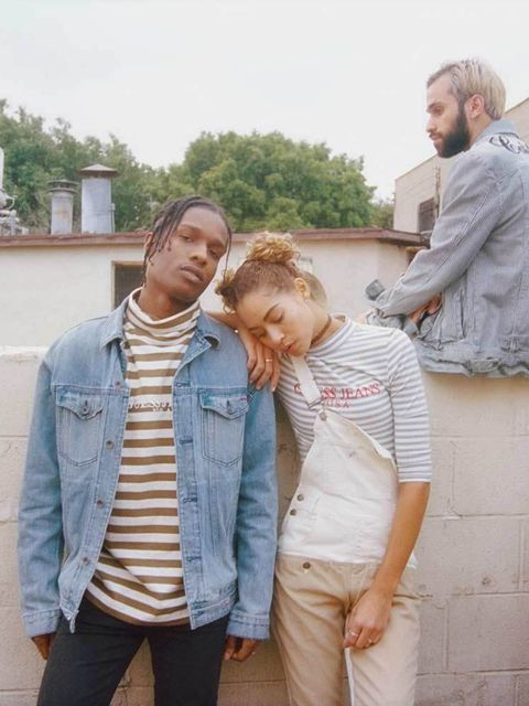 <p>Guess Original x A$AP Rocky</p>  <p>GUESS has launched it's new line Guess Originals in collaboration with fashion man of the moment A$AP Rocky. A collection of acid washes, 90s logo tees, bomber jackets and overalls the collection is a real 90s celeb